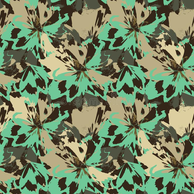 Abstract green and beige flowers like leopard animal motif. royalty free illustration