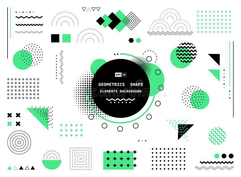 Abstract green and black geometric shape of modern elements cover design. illustration vector eps10 royalty free illustration