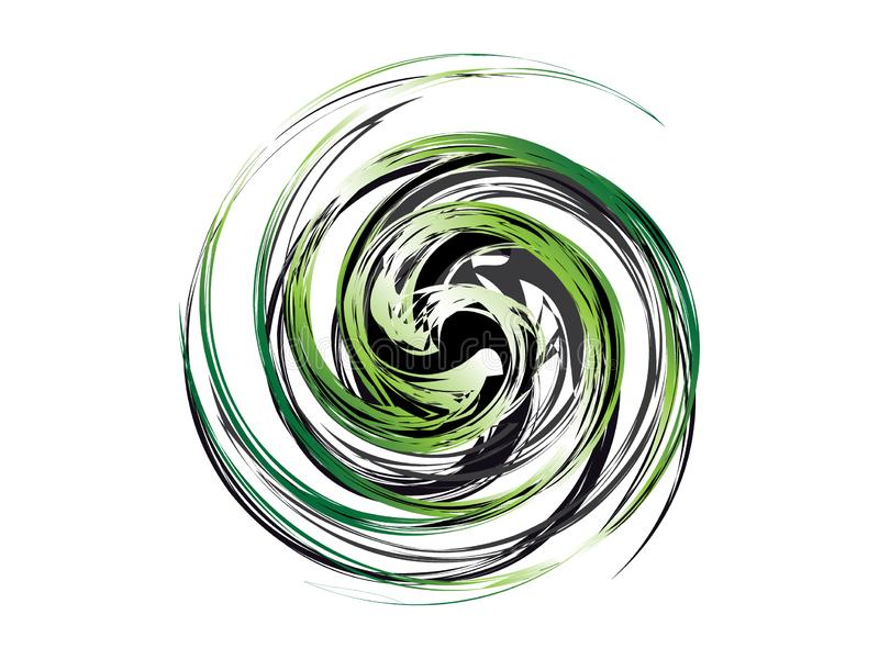 Abstract green black swirl logo. Abstract green black swirl orb logo icon vector isolated eps stock illustration
