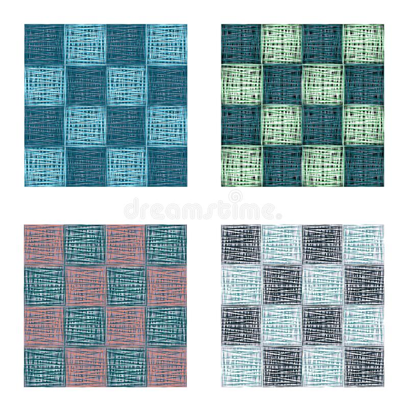 Abstract geometrical vector squares seamless pattern set vector illustration