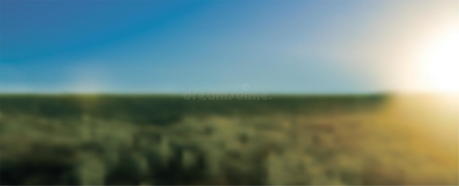 Abstract green blurred gradient background with sunlight. Nature backdrop. Vector illustration. Ecology concept for your royalty free illustration