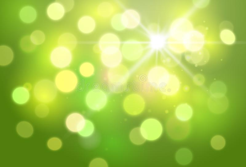 Abstract green blurred vector background with shiny light effects royalty free illustration