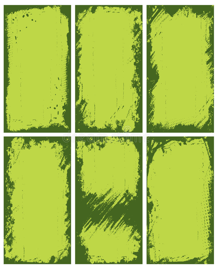 Abstract green borders. A collection or set of six greenish backgrounds with abstract irregular dark green borders stock illustration