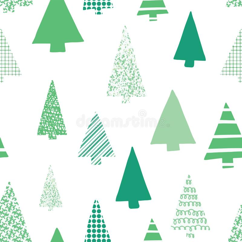 Abstract green christmas trees vector seamless pattern. Christmas tree silhouettes green on a white background. Modern Christmas royalty free illustration