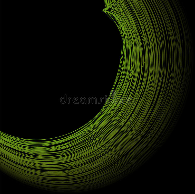 Abstract the green circle on black background royalty free illustration
