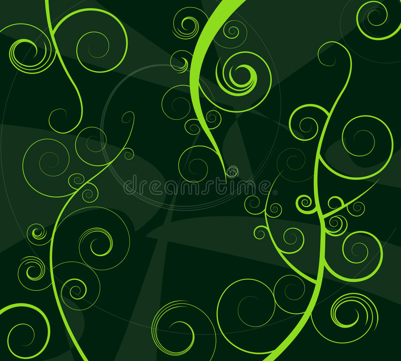 Abstract green curls stock illustration
