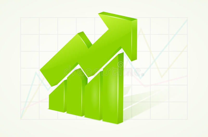 Abstract green 3D chart icons with arrow and shadow royalty free illustration