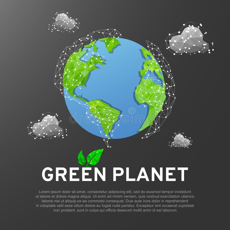 Abstract green 3D planet Earth with clouds, blue ocean on gray background. Low poly wireframe, polygonal vector royalty free illustration