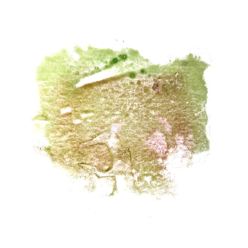 Abstract The green drawing stroke ink watercolor brush water col. Or splash paint watercolour background stock photo
