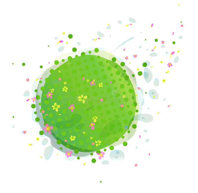 Abstract Green Earth with Flowers royalty free illustration