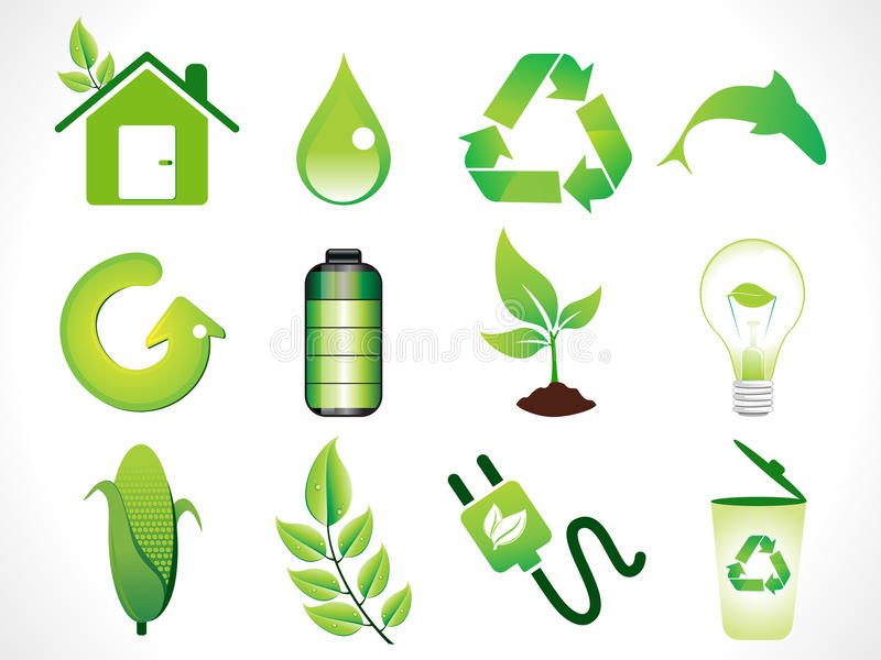 Download Abstract Green Eco Icons Set Stock Vector - Image: 20548232