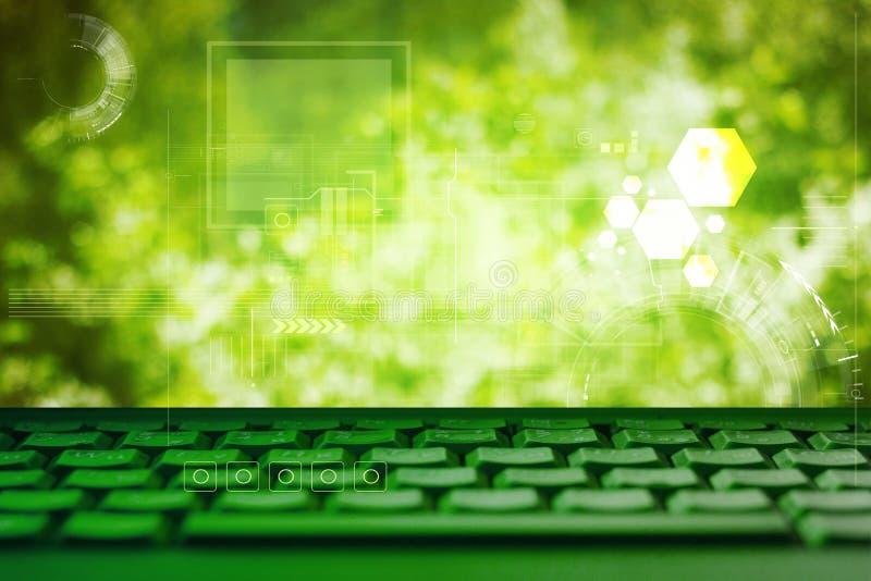 Abstract green eco technolgy business concept with keyboard. Abstract green technolgy business concept with keyboard. Ecology background royalty free stock photos