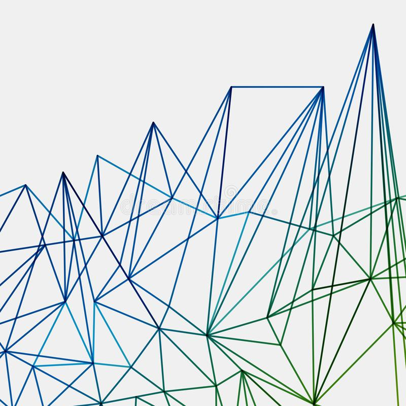 Abstract green end blue techno lines background, geometric royalty free illustration