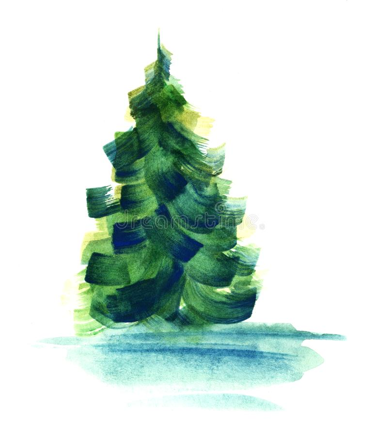 Abstract green fir-tree without strict shape isolated on white background. Watercolor hand drawn image of coniferous tree painted. With large brush strokes of stock illustration