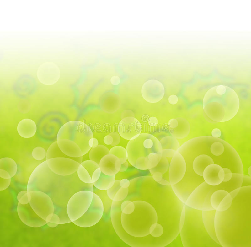 Abstract green floral blur background. Abstract green floral retro background with blured baubbles and leaves royalty free illustration