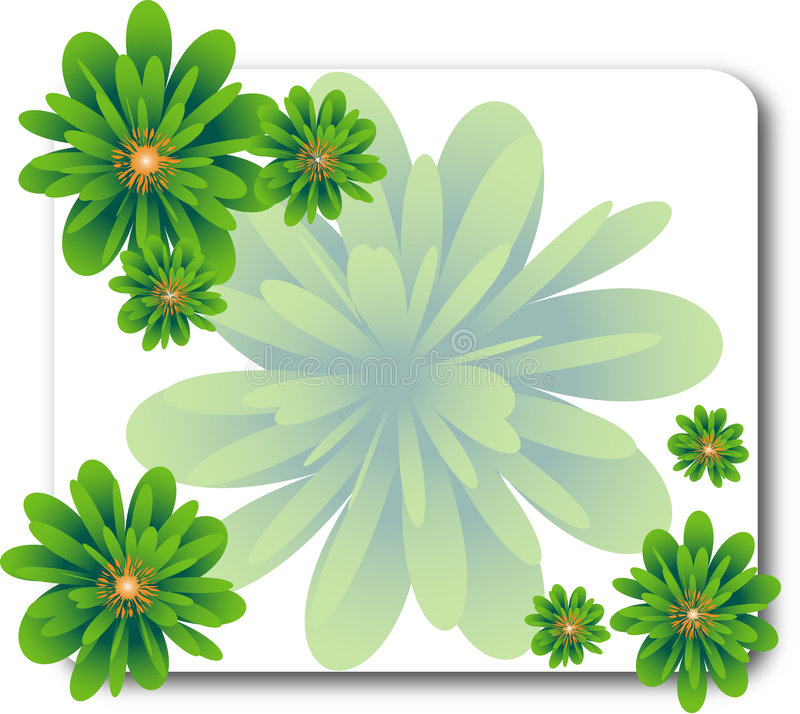 Abstract green floral frame vector illustration