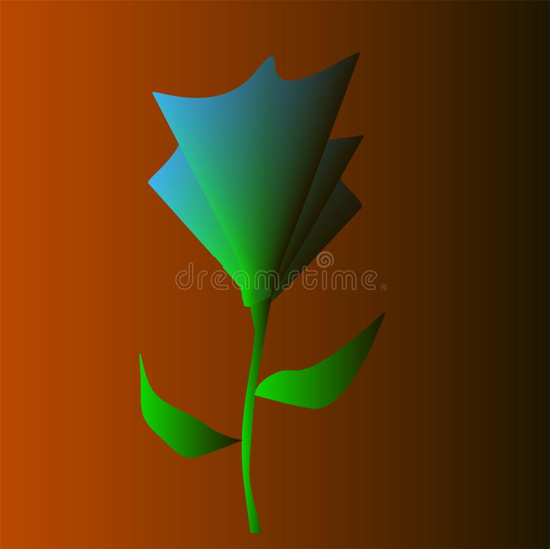 Abstract green flower on orange background stock image