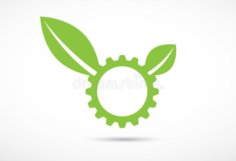 Abstract green gear and leaf ecology business and technology com. High tech eco green infinity computer technology concept background royalty free illustration