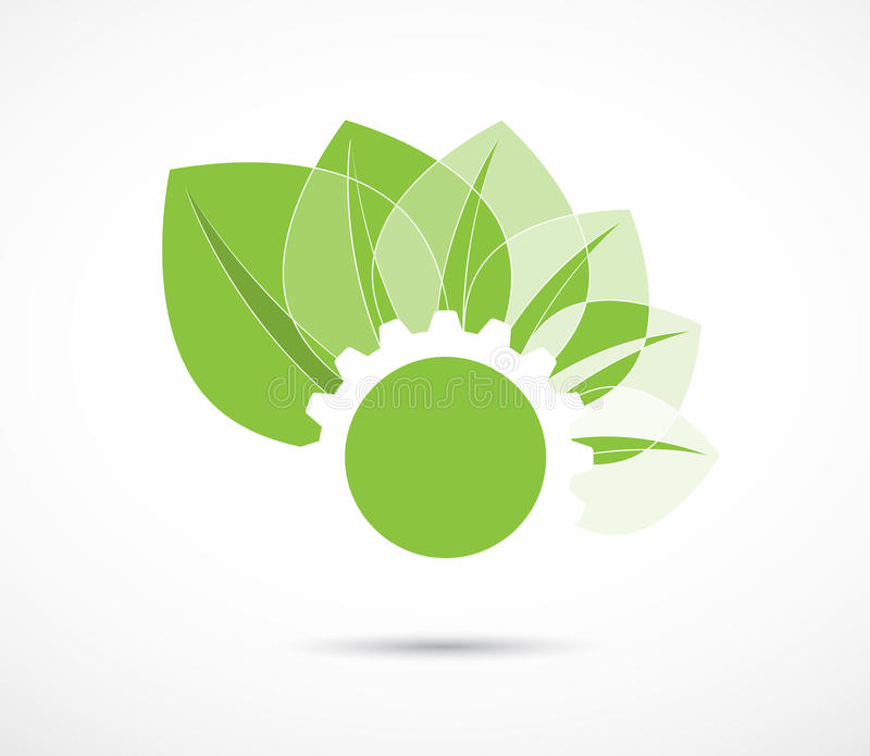 Abstract green gear and leaf ecology business and technology com. High tech eco green infinity computer technology concept background vector illustration