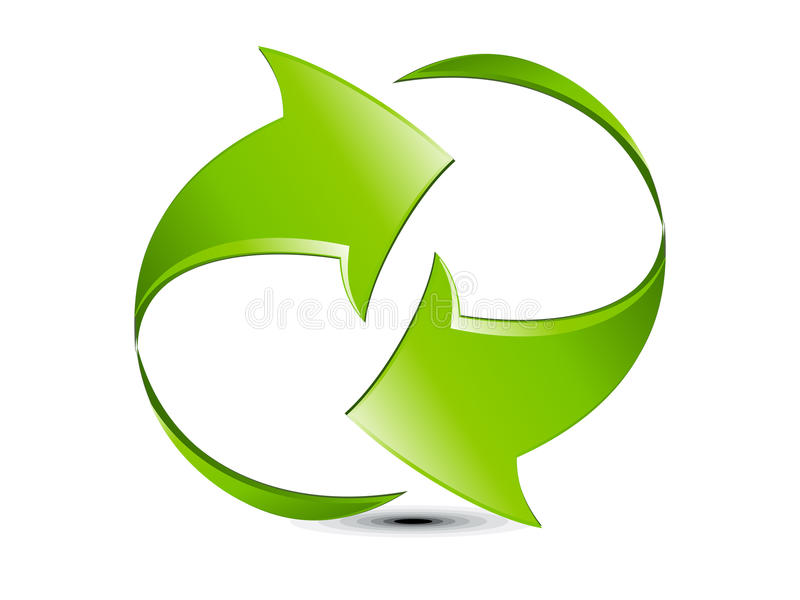 Abstract Green Glossy Refresh Icon Royalty Free Stock Photos