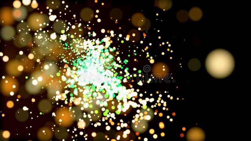 Abstract green and golden Bengal fire shining over black background. Animation. Beautiful sparkler lights, many small. Abstract green and golden Bengal fire stock illustration