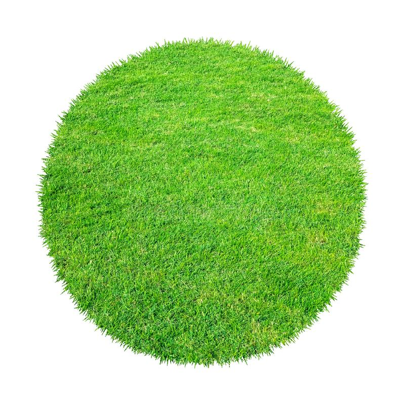 Abstract green grass texture for background. Circle green grass pattern isolated on a white background stock photos