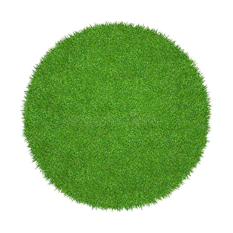 Abstract green grass texture for background. Circle green grass pattern isolated on a white background stock images