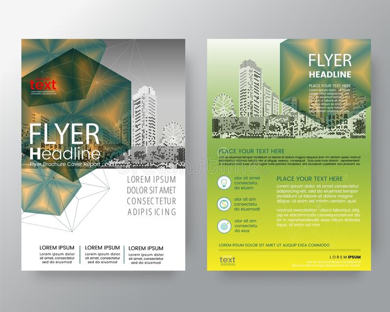 Abstract green hexagon Brochure annual report cover Flyer Poster. Design Layout vector template in A4 size vector illustration