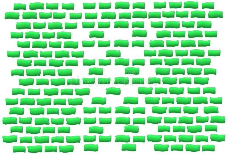 Abstract green irregular shaped bricks wall stock illustration