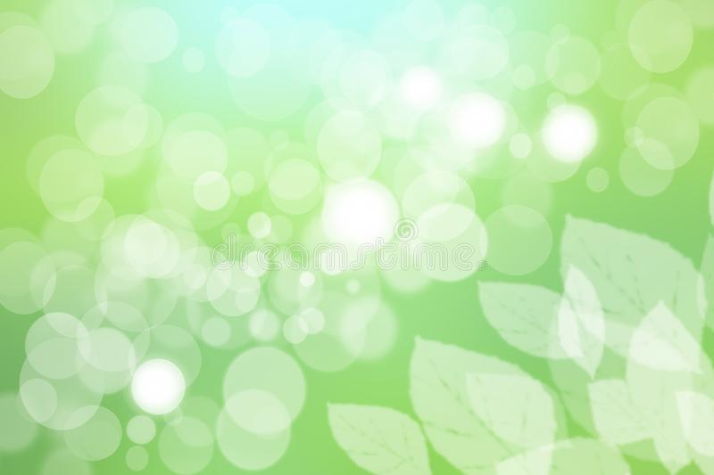 Abstract green light and white colorful summer or spring bokeh background. Beautiful texture royalty free illustration