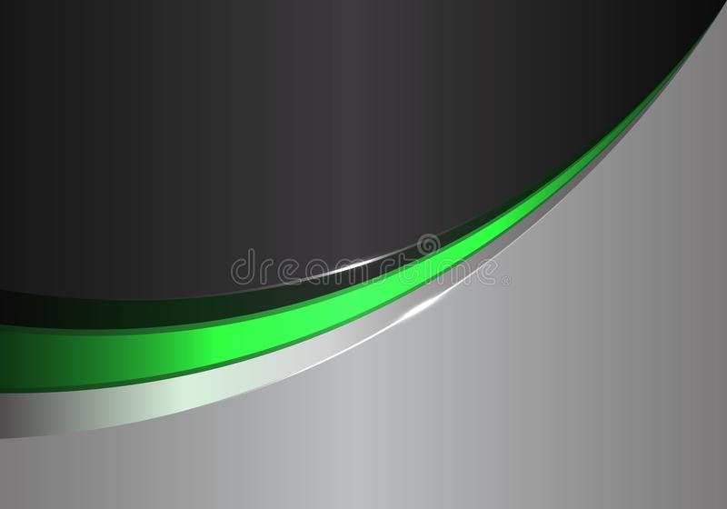 Abstract green line curve on black gray design modern futuristic background vector. Illustration royalty free illustration