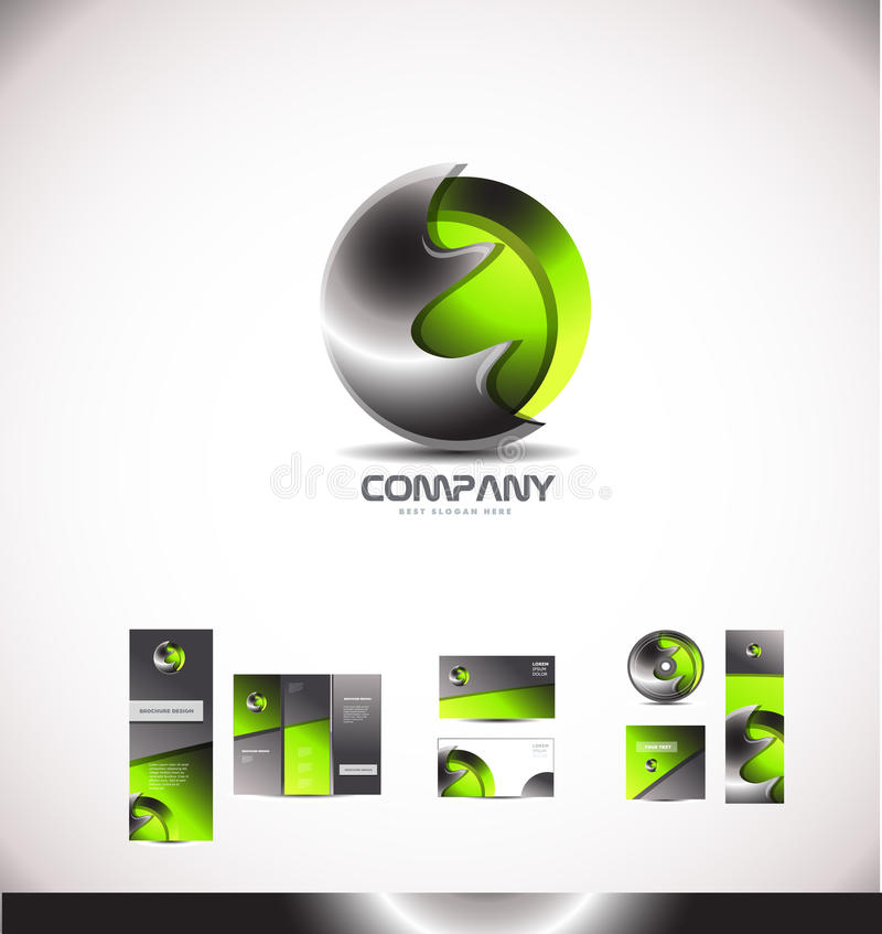 Abstract green metal sphere 3d logo royalty free illustration