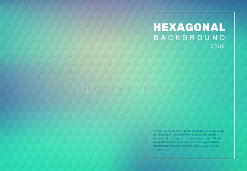Abstract green mint and blue turquoise gradient blurred background with hexagon embossed pattern texture vector illustration