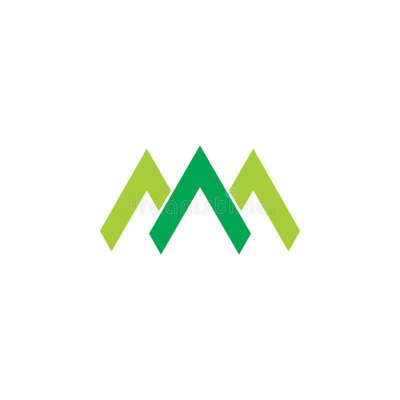Abstract green mountain line arrow logo vector stock illustration