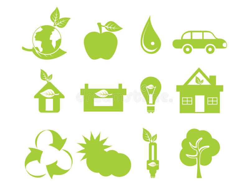 Abstract green multiple eco icons. Vector illustration stock illustration
