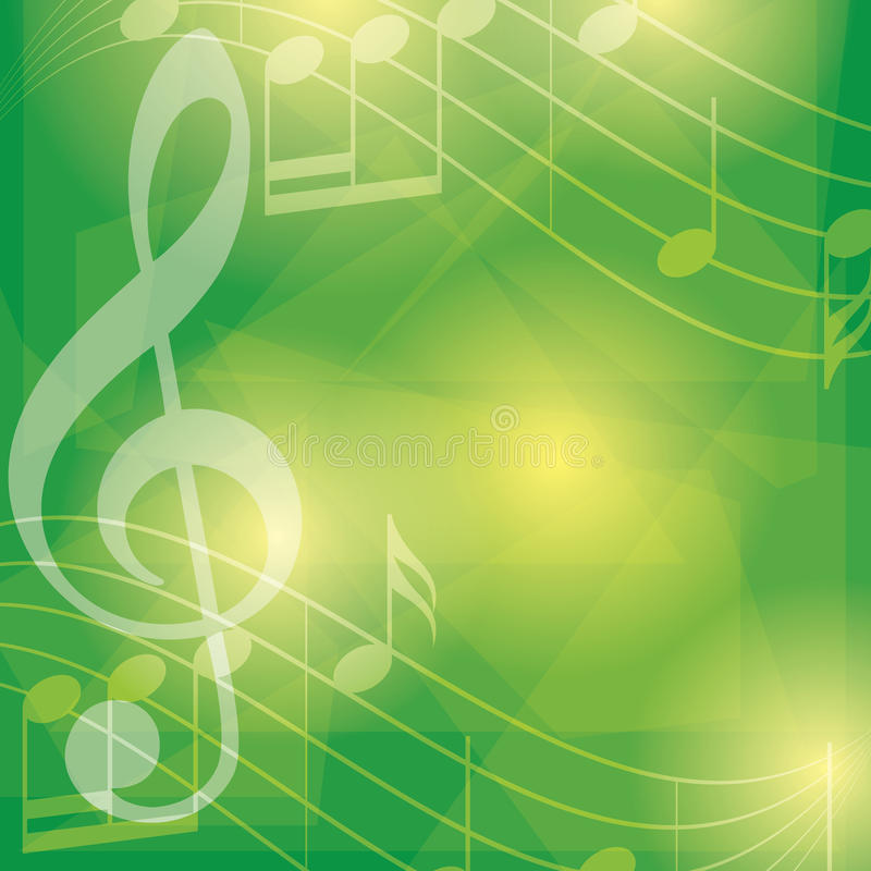 Abstract green vector music background with notes stock illustration
