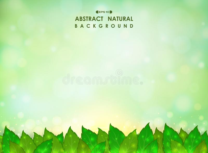Abstract of green natural leaves background with soft green gradient bokeh glitters. royalty free illustration