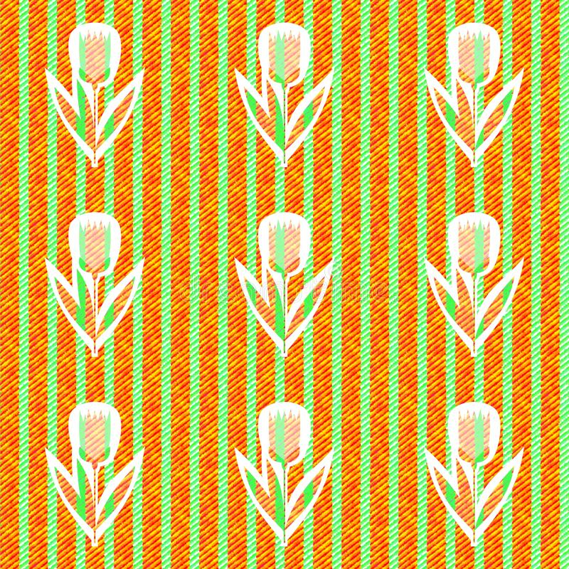Abstract green orange pattern with cloth texture - digitally rendered seamles floral striped tile royalty free illustration