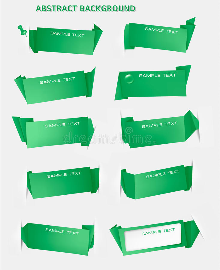 Abstract green origami speech bubble backgr royalty free illustration