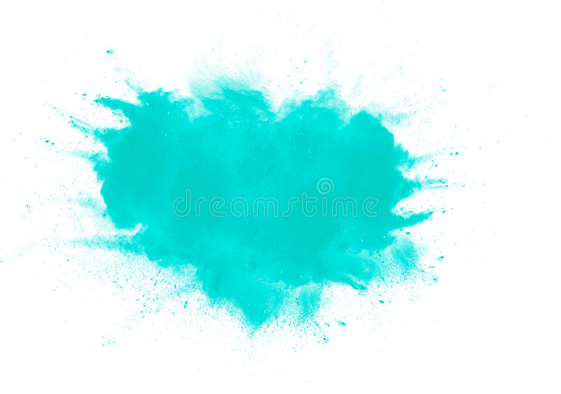 Abstract green powder. Splatted on white background,Freeze motion of green powder exploding royalty free stock image
