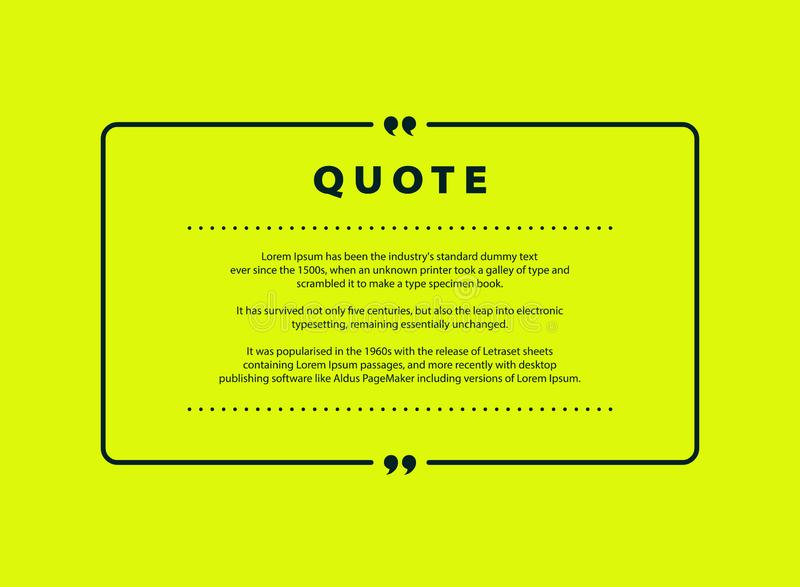 Abstract green quote vector design for speech text copy template design. vector eps10 royalty free illustration