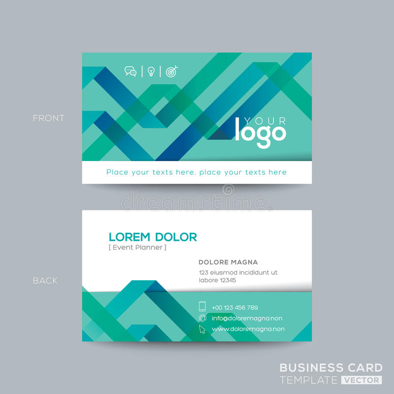 Abstract green ribbon background business card design royalty free illustration