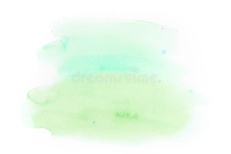 Abstract green soft watercolor background isolated on white back royalty free stock images