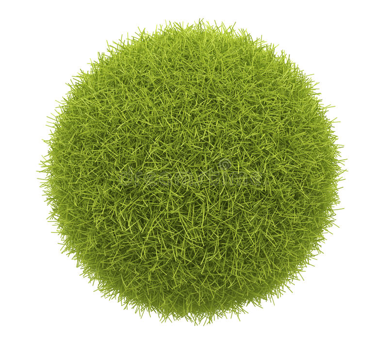 Abstract green sphere of grass 3D. Isolate vector illustration