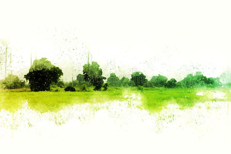 Abstract green tree and field landscape watercolor. royalty free stock photos