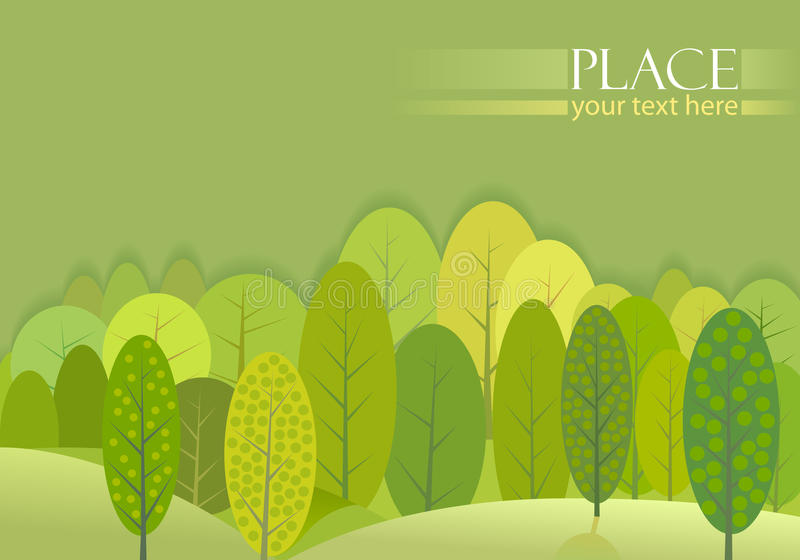 Abstract Green Trees Forest Background royalty free illustration