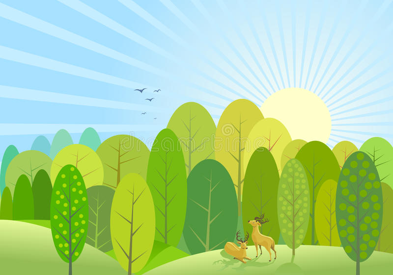 Abstract Green Trees Forest Background vector illustration