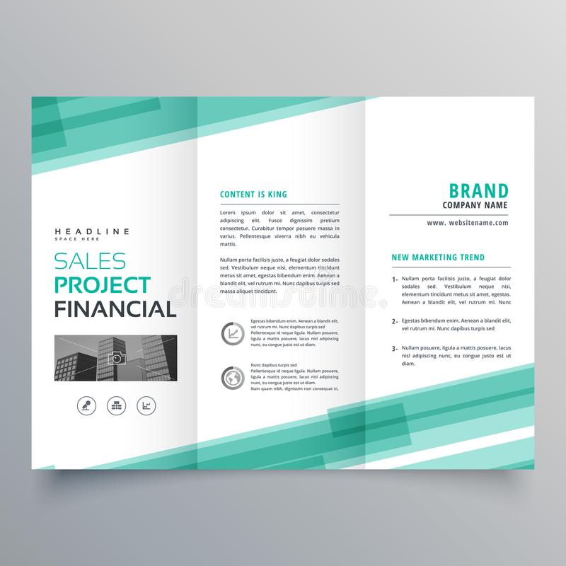 Abstract green trifold template brochure design. Vector stock illustration