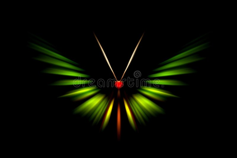 Abstract green tropical butterfly. Green tropical butterfly with zoom effect royalty free stock photo