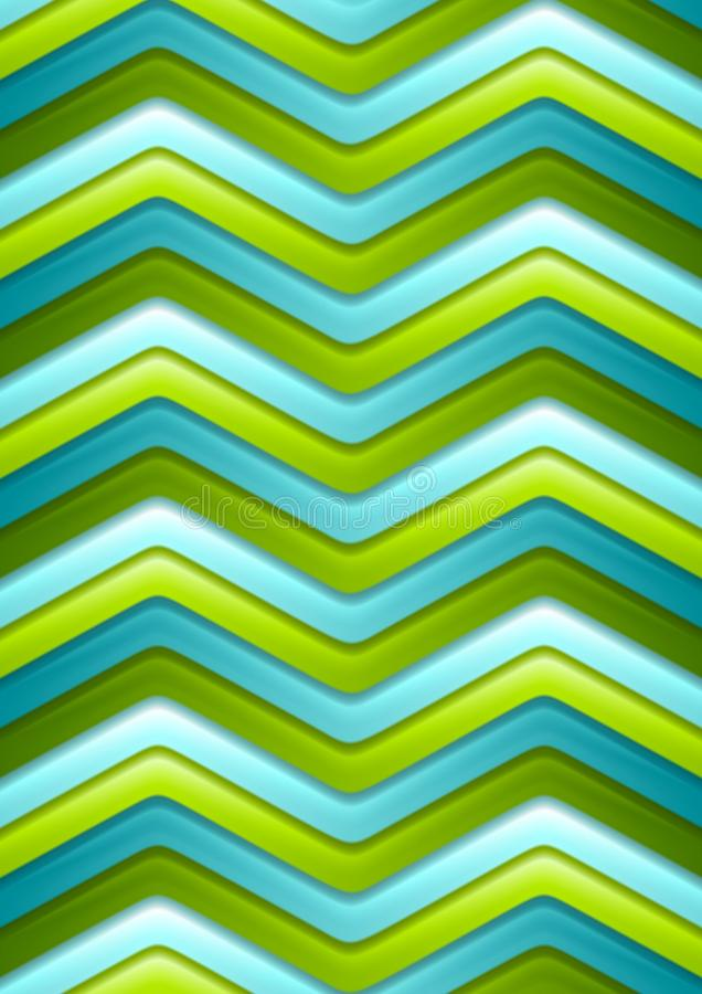 Abstract green and turquoise curved stripes stock illustration